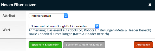 OnPage.org - Filter Indexierbarkeit